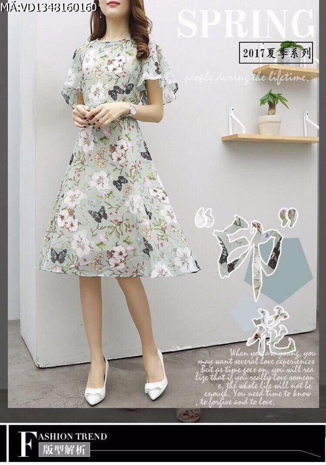 Đầm voan hoa nữ màu xanh in 3D
